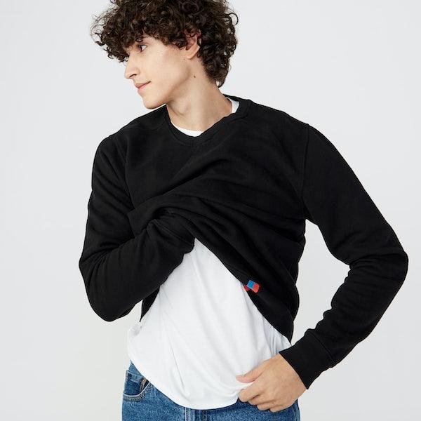 KULE- Male model wearing Velour Sweatshirt