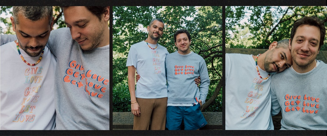 Two models with their arms around eachother wearing the Give Love, Get Love, Let Love Archie Pride t-shirt and Raleigh Pride sweatshirt from the Kule x Samantha Hahn Pride collection.